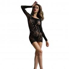 Φόρεμα με πέρλες 65140 - Μαύρο