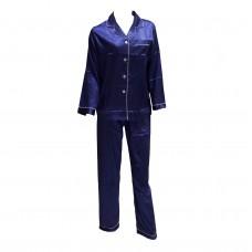 Γυναικείο Πιτζάμα σατέν με κουμπιά 650 - Μπλε (Στενή Γραμμή)
