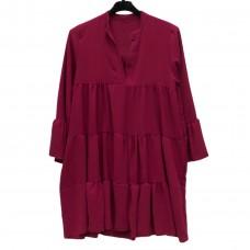 Γυναικείο φόρεμα κοντό με βολάν 1034 - Βυσσινί