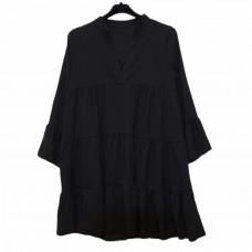Γυναικείο φόρεμα κοντό με βολάν 1034 - Μαύρο