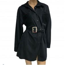 Γυναικείο κοτλέ μίνι πουκαμίσαφόρεμα με ζώνη 14132 - Μαύρο