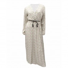 Γυναικείο Εμπριμέ μάξι φόρεμα κρουαζέ με ζώνη 8167 - Εκρού