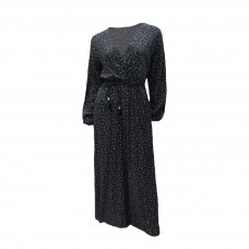 Γυναικείο Εμπριμέ μάξι φόρεμα κρουαζέ με ζώνη 8167 - Μαύρο